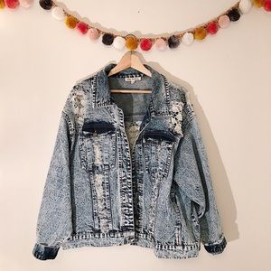 Indigo Thread Co. Distressed Jacket sz 1X ✨